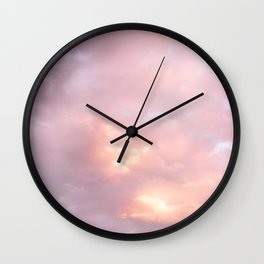 Pink Sunset Explosion Puffy Clouds Skyscape Photography Wall Clock