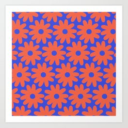 Crayon Flowers 3 Cheerful Smudgy Floral Pattern in Coral and Bright Blue Art Print
