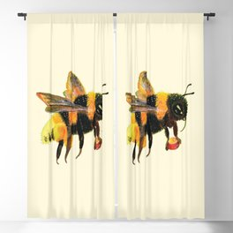 Bumble Bee carrying pollen illustration Blackout Curtain