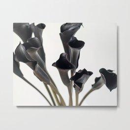 Dark Flowers, Light Background Metal Print