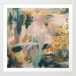 Teal and Gold Abstract- 24K Magic Art Print