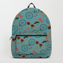 Colorful Hipster Elements Pattern on teal Backpack