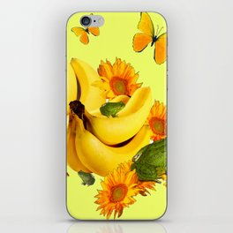 GREEN FROGS BANANAS SUNFLOWERS BUTTERFLY DESIGN iPhone Skin