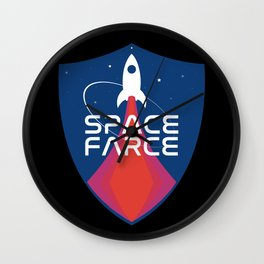 Space Force Space Farce Logo graphic parody Blue Black Military Wall Clock