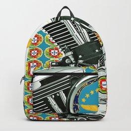 Blue Portuguese flag collage Backpack