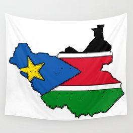 Sudan Map with Sudanese Flag Wall Tapestry