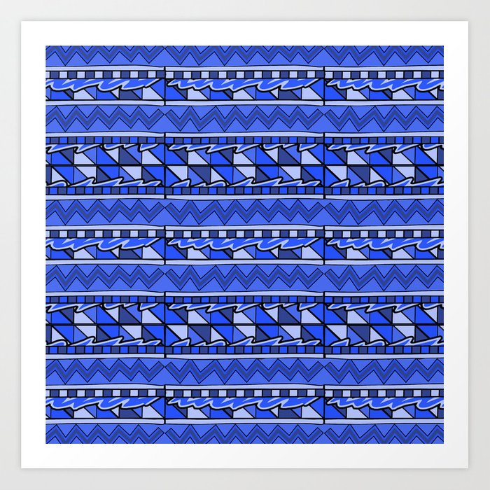 Latin American Pattern Blue  Zigzag Squares Triangle Patterns  Mexican Art   Funky Art Print by terainbdesigns