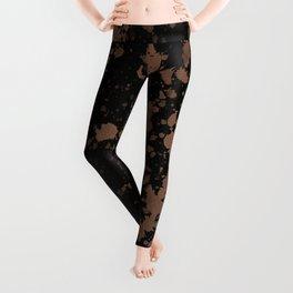 Black With A Splash Of Rose Gold Leggings