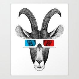 Goat wears 3D glasses Art Print