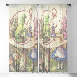 Alice & The Hookah Smoking Caterpillar - Alice In Wonderland Sheer Curtain