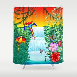 Waterfall Macaws and Butterflies on Exotic Landscape in the Jungle Naif Style Shower Curtain