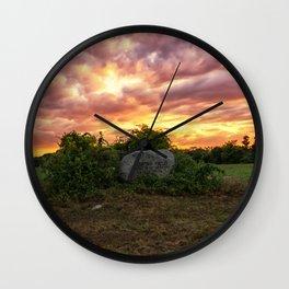 Waring field at sunset Wall Clock
