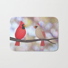 psychedelic cardinals bokeh Bath Mat