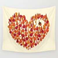 pun Wall Tapestries featuring Wild at Heart by Wharton