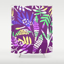 Abstract pink lavender green tropical floral pattern Shower Curtain