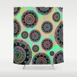 Holographic Floating Mandala Boho Stamp Print Shower Curtain