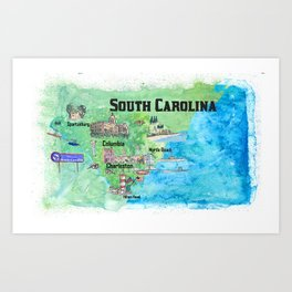 USA South Carolina State Travel Poster Map with Tourist Highlights Art Print