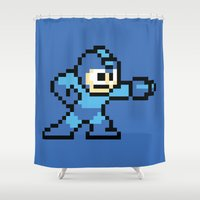 mega man Shower Curtains featuring Pixelated Mega Man by Katadd