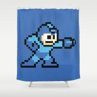 mega man Shower Curtains featuring Pixelated Mega Man by Katadd