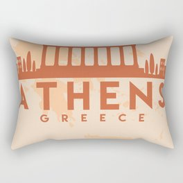 ATHENS GREECE CITY MAP SKYLINE EARTH TONES Rectangular Pillow