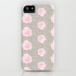 Watercolor roses on Taupe with French script iPhone Case