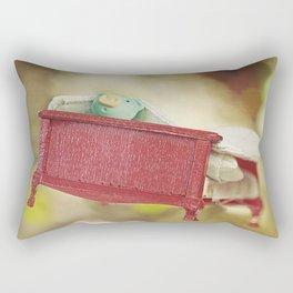 Pig on flying bed Rectangular Pillow