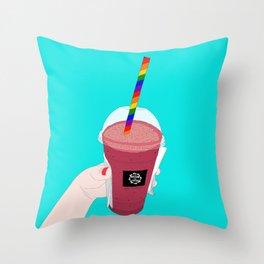 Salted Caramel Raspberry Ice Frappe Throw Pillow