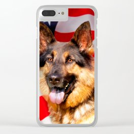 German shepherd Dog Patriot Red Blue White Clear iPhone Case