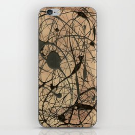 Pollock Inspired Abstract Black On Beige iPhone Skin