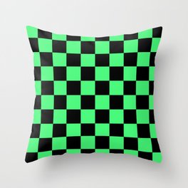 Black and Green Checkerboard Pattern Throw Pillow
