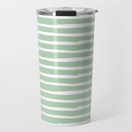 Elegant Stripes Pastel Cactus Green and White Travel Mug