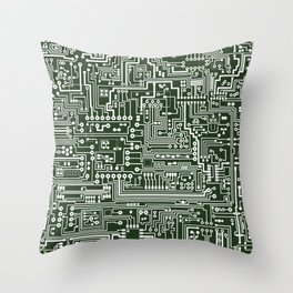 Circuit Board // Green & White Throw Pillow