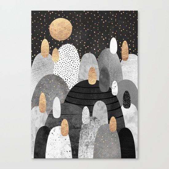Little Land of Pebbles / Night Canvas Print