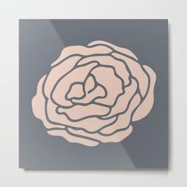 Rose Vintage Rose Pink on Pebble Gray Metal Print
