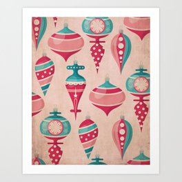 Candy Colored Christmas Ornaments Pattern Mid Century Style Art Print
