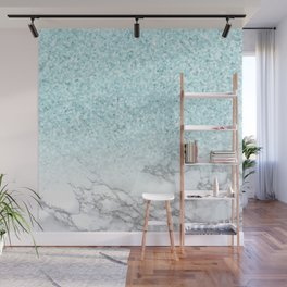 Pretty Turquoise Marble Sparkle Wall Mural