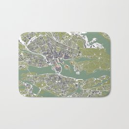 Stockholm city map engraving Bath Mat