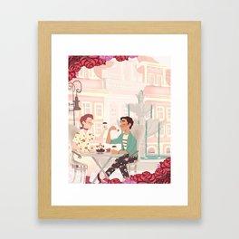 Coffee Date w/ roses Framed Art Print