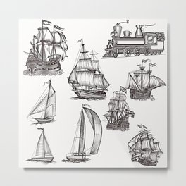 Hand drawn boats collection Metal Print