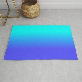 Neon Blue and Bright Neon Aqua Ombré Shade Color Fade Rug