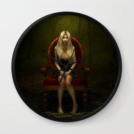 Dark wonderland Alice on a red chair Wall Clock