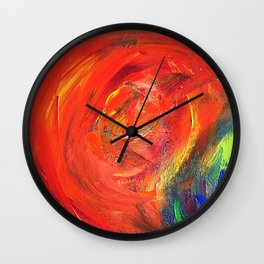 Dynamic Swirls of Color - Red Wall Clock