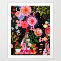 carousel Art Prints featuring carousel by Danse de Lune