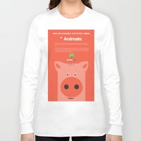 pigs Long Sleeve T-shirts featuring Save Cute Pigs by Fun Factory