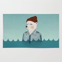 bill murray Area & Throw Rugs featuring Bill Murray - Life Aquatic by Drivis