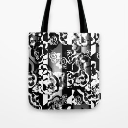 Black and White Skin Floral Tote Bag