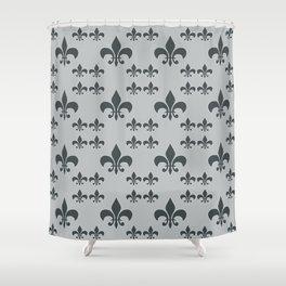 FLEUR DE LIS GRAY BLACK Shower Curtain