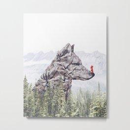 Stone Wolf Metal Print