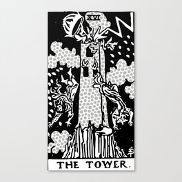 Modern Tarot Design - 16 The Tower Canvas Print