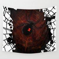 black widow Wall Tapestries featuring Black Widow (Signature Design) by Adamzworld